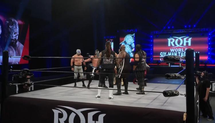 Ring Of Honor Results: Shane Taylor Promotions (Shane Taylor, Moses & Khan) vs. MexiBloods (Flamita, Bandido & Rey Horus) [ROH Trios Championship Match]