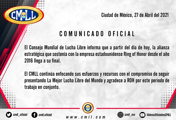 CMLL Cuts Ties With Ring Of Honor